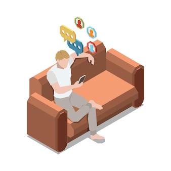 Restez à la maison composition isométrique avec un homme assis sur un canapé vérifiant les médias sociaux sur l'illustration du smartphone