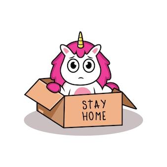 Restez à la maison avec un dessin animé de licorne