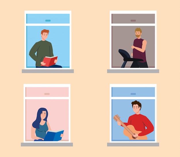 Restez à la maison, façade avec fenêtre, auto-isolement des gens faisant des activités dans la maison, éloignement social, prévention covid 19