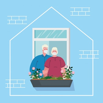 Restez à la maison, façade de la maison avec fenêtre, vieux couple regarde hors de la maison, auto-isolement, mise en quarantaine en raison de coronavirus, covid 19