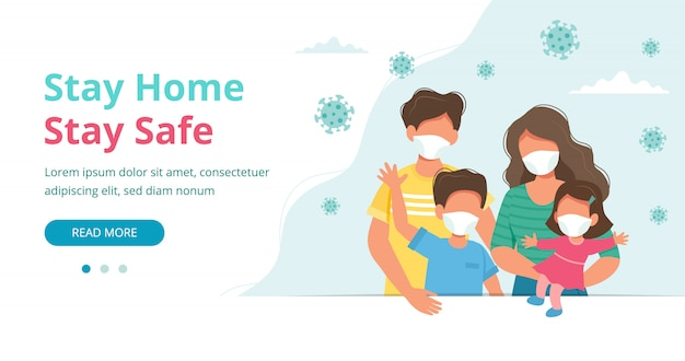 Restez à la maison. famille portant des masques à la maison en quarantaine, page de destination ou modèle de bannière.
