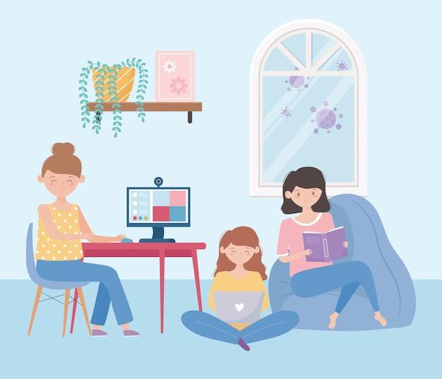 Restez à la maison, les gens dans un livre de lecture en ligne et utilisent un ordinateur portable dans le salon
