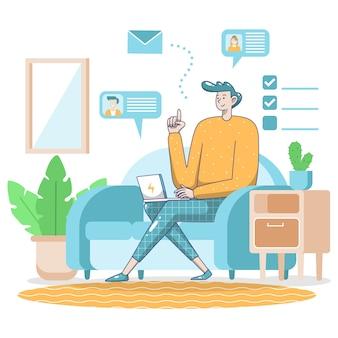 Restez à la maison avec un homme travaillant au télétravail
