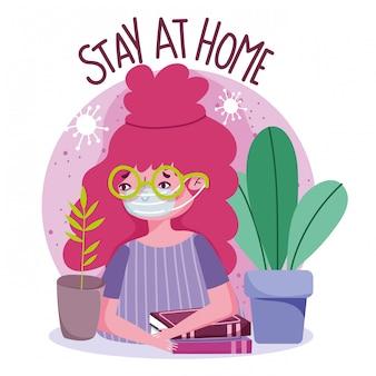 Restez à la maison, jeune femme avec un masque et des livres sur la prévention de la quarantaine, covid 19
