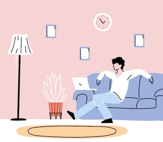 Restez à la maison, jeune femme travaillant sur un ordinateur portable à la maison