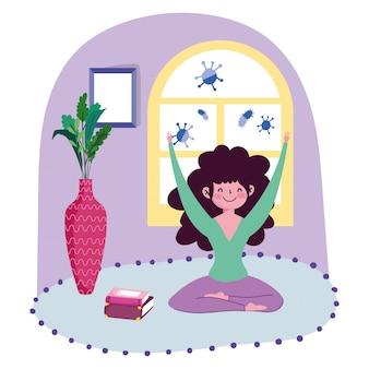 Restez à la maison, jeune fille pratiquant le yoga dans la caricature de la salle de tapis