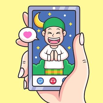 Restez à la maison en ligne avec l'appel vidéo pour le dessin animé