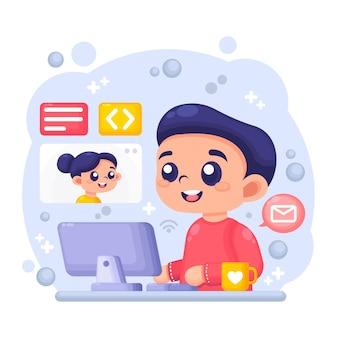 Restez à la maison et parlez à vos amis en ligne