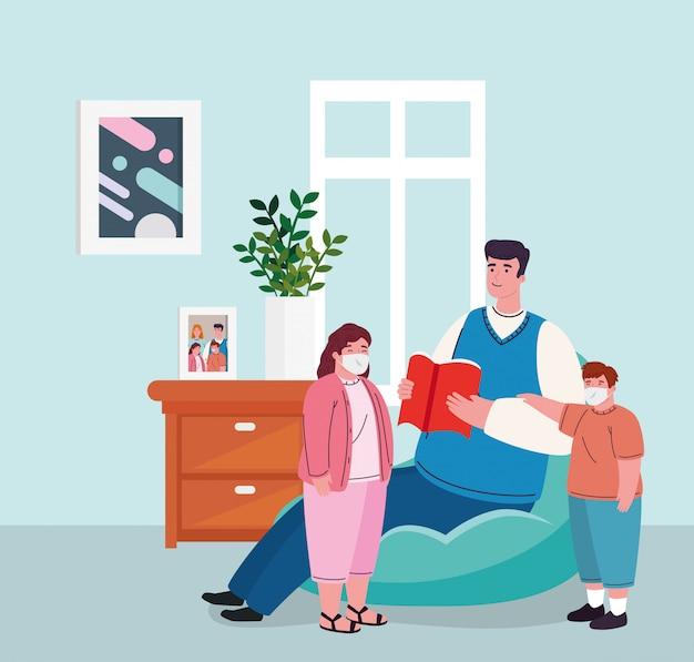Restez à la maison, père avec enfants portant un masque médical dans le salon, mise en quarantaine ou auto-isolement