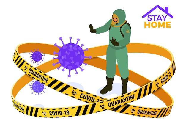 Restez à la maison en quarantaine de coronavirus. un médecin en combinaison de vêtements de protection chimique et masques à gaz arrête le coronavirus. quarantaine d'une épidémie pandémique. isométrique