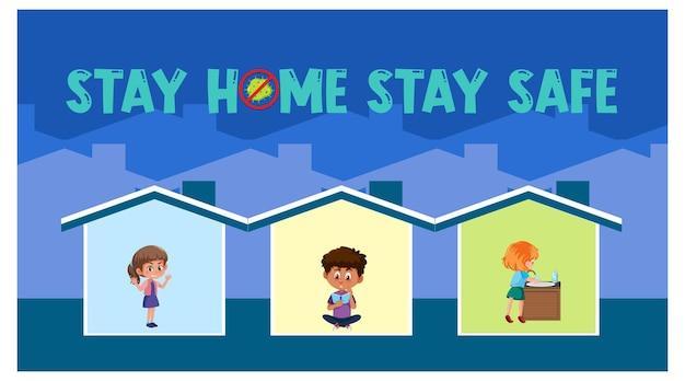 Restez à la maison restez en sécurité avec les enfants en direct dans leur bannière à la maison
