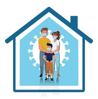 Restez à la maison restez en sécurité restez à la maison en toute sécurité protégez votre famille de l'illustration vectorielle covid19