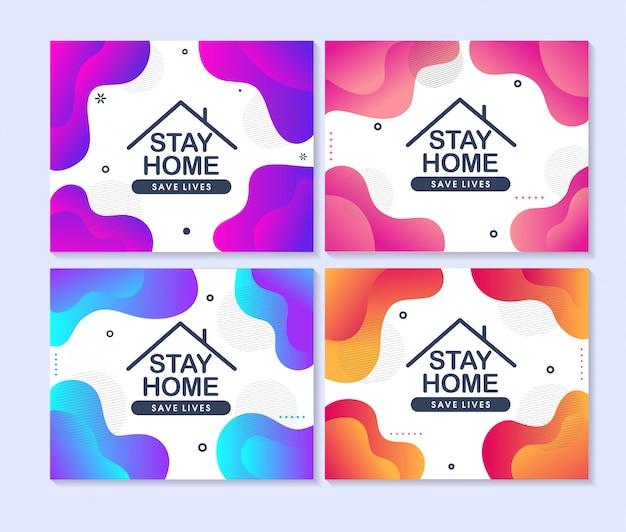 Restez à la maison, sauvez des vies. concept de design de médias sociaux