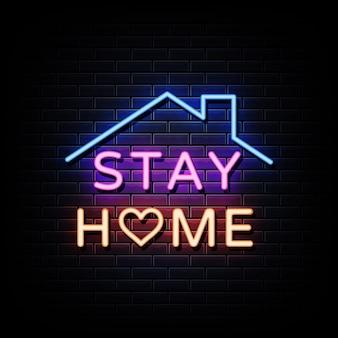 Restez à la maison texte de style enseignes au néon