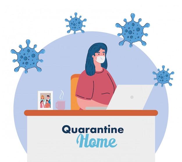 Restez à la maison, travaillez à la maison, la femme se protège en travaillant à la maison, restez à la maison en quarantaine pendant le coronavirus