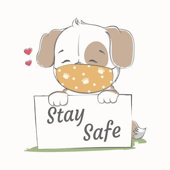 Restez en sécurité avec un chien mignon portant un masque facial dessiné à la main