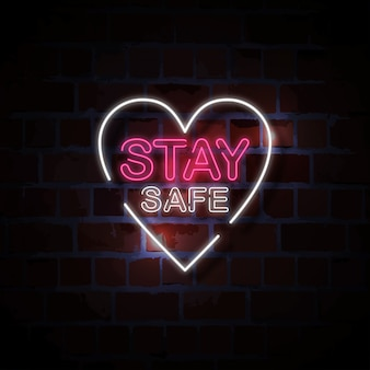 Restez en sécurité illustration de signe de style néon