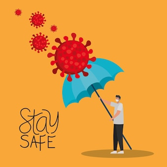 Restez en sécurité avec un lettrage et un homme avec un masque de sécurité, des particules rouges et un parapluie sur une illustration jaune
