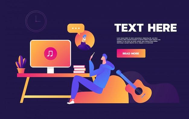 Restez toujours connecté en utilisant l'appel vidéo sur un ordinateur portable - illustration de modèle d'en-tête de page web love an relationship à l'aide de la page de destination.