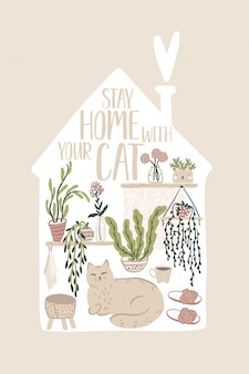 Restons à la maison. carte inspirante avec des éléments intérieurs, des plantes d'intérieur et un chat mignon dans un style scandinave dessiné à la main. illustration confortable dans la silhouette du bâtiment