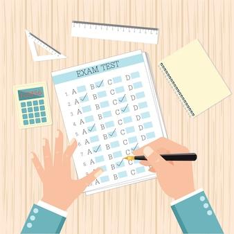 Résultats du test d'examen scolaire