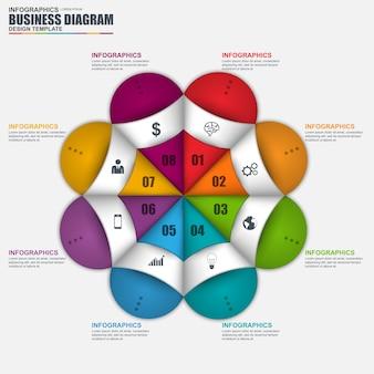 Résumé 3d marketing d'entreprise infographique. peut être utilisé pour la mise en page de flux de travail, visualisation de données