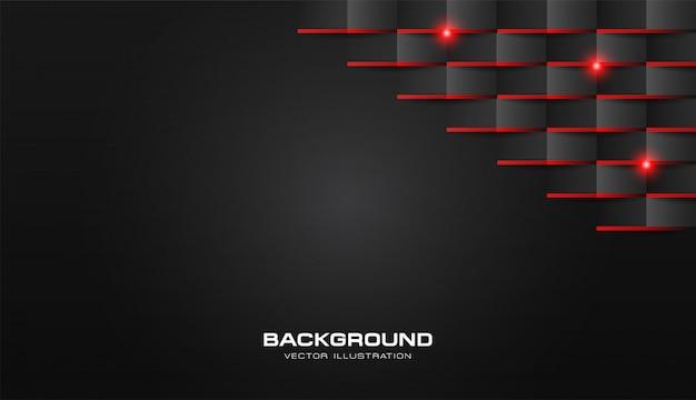 Résumé 3d pli papier motif géométrique luxe noir foncé avec une lumière rouge brillante