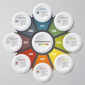 Résumé 8 étapes éléments infographiques graphique.