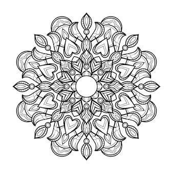 Résumé d'art style de mandala noir et blanc