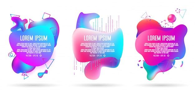 Résumé de la bannière 3d liquide en trois jeux, tous les éléments d'oeuvre contiennent des dégradés colorés
