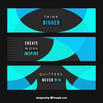 Résumé des bannières créatives avec des mots inspirés