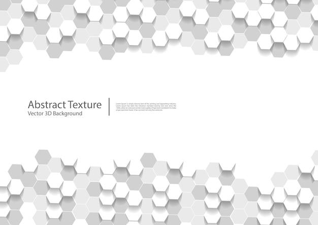 Résumé blanc hexagonal, texture hexagones 3d
