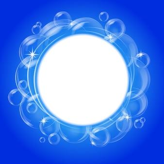 Résumé bleu avec des bulles transparentes. contexte.