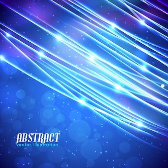 Résumé bleu clair avec des lignes scintillantes et des effets lumineux sur fond flou