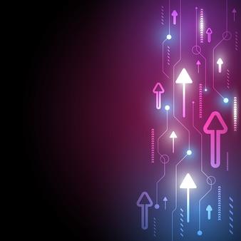 Résumé de charge de données de vitesse et de technologie de flèche au néon avec fond coloré