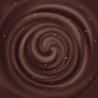 Résumé chocolat swirl avec fond de noix.
