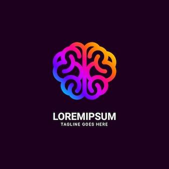 Résumé coloré de logo de cerveau