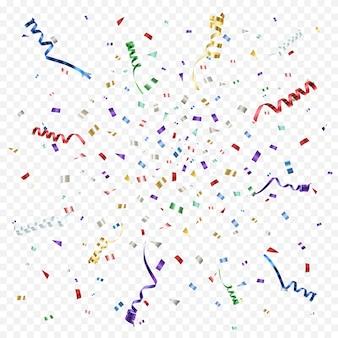 Résumé coloré avec des rubans et des confettis.