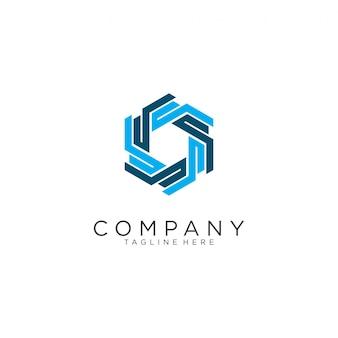 Résumé de conception de logo d'hexagone