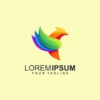 Résumé de conception de logo oiseau coloré