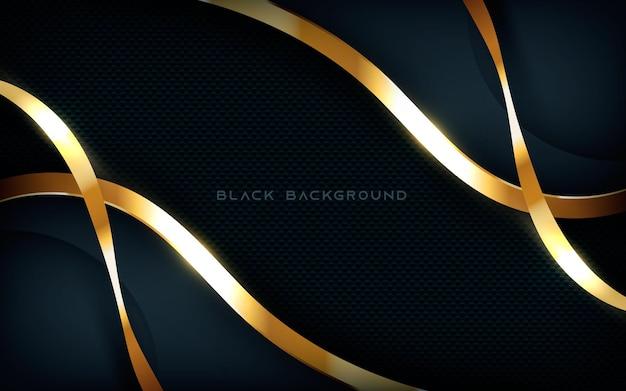 Résumé des couches de fond noir moderne dimension liste d'or clair étincelant