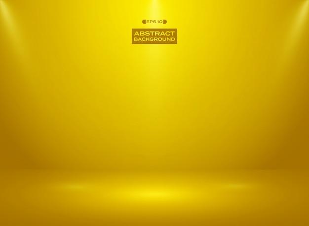 Résumé de couleur de couleur or en fond de chambre studio