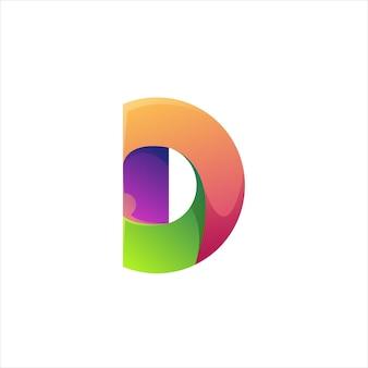 Résumé de dégradé coloré lettre d logo