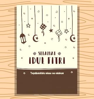 Résumé dessiné à la main selamat idul fitri eid fond