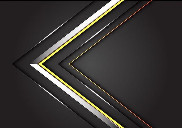 Résumé de la direction de la flèche de la ligne jaune argent sur fond gris foncé.