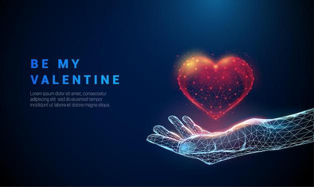 Résumé donnant la main avec coeur lu. soyez ma carte valentine. conception de style low poly. abstrait géométrique. structure de connexion de lumière filaire. concept moderne. .