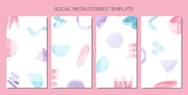 Résumé doodle aquarelle comme arrière-plan du modèle d'histoires de médias sociaux