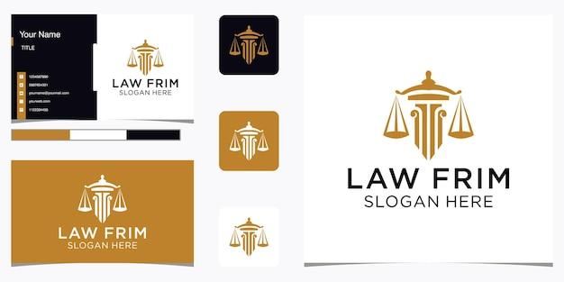 Résumé du cabinet d'avocats avec la conception de luxe du logo pilier et le modèle de carte de visite