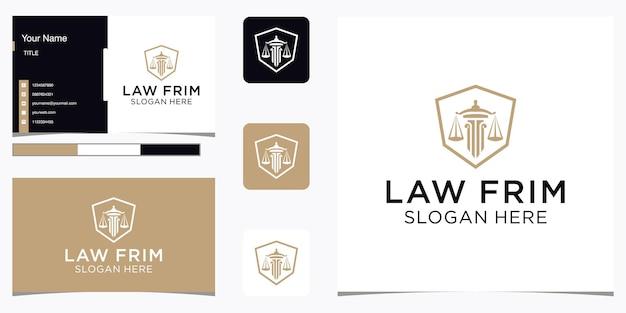 Résumé du cabinet d'avocats avec conception de luxe de logo de pilier et carte de visite