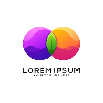 Résumé du logo du cercle de feuilles